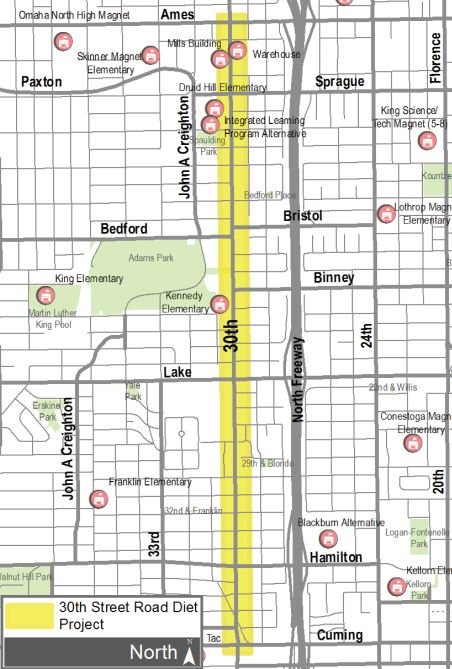 30th Street Road Diet Project Map